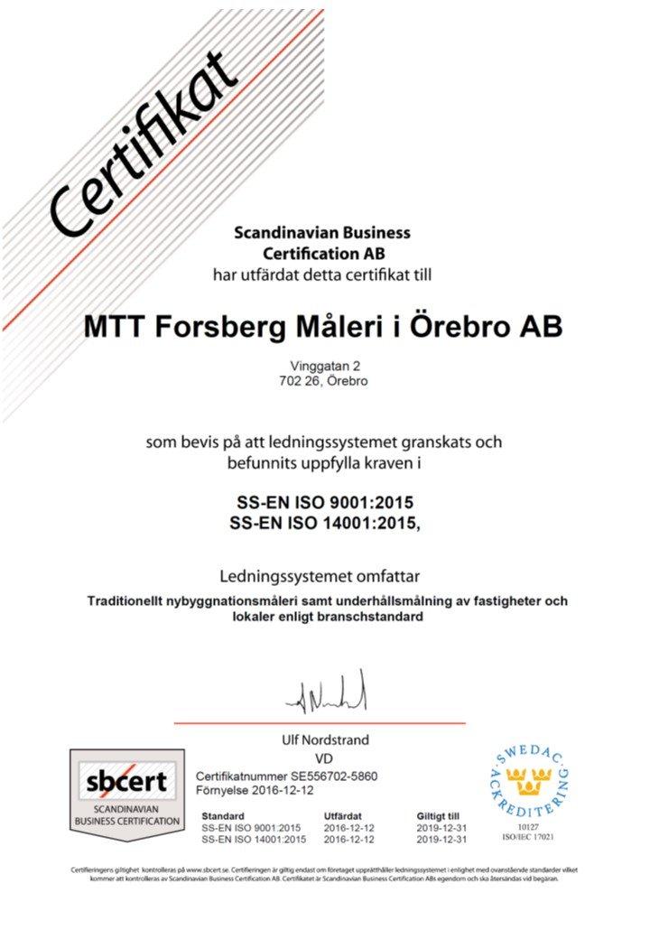 certifikat nybyggnationsmåleri
